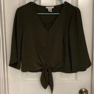 Urban Romantics Cropped Tie-Front Button-Up Blouse